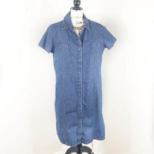 L.L. BEAN ▪ Short Sleeve Denim Shirt Dress, EUC